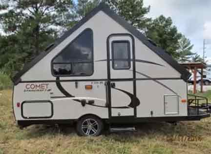 comet hard side popup camper with bathroom