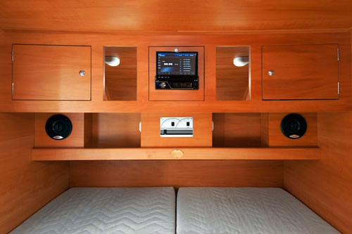 Alpha Teardrop Camper Interior Here Seen Double Bed Cabinets And DVD Stereo Set